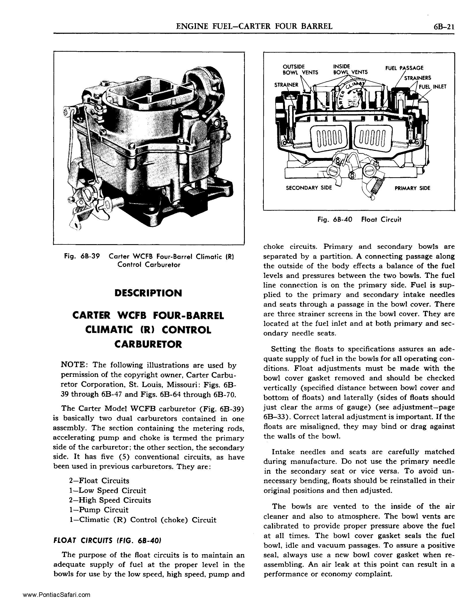 1955 Pontiac Shop Manual- Carter WCFB Four-Barrel Page 1 of 18
