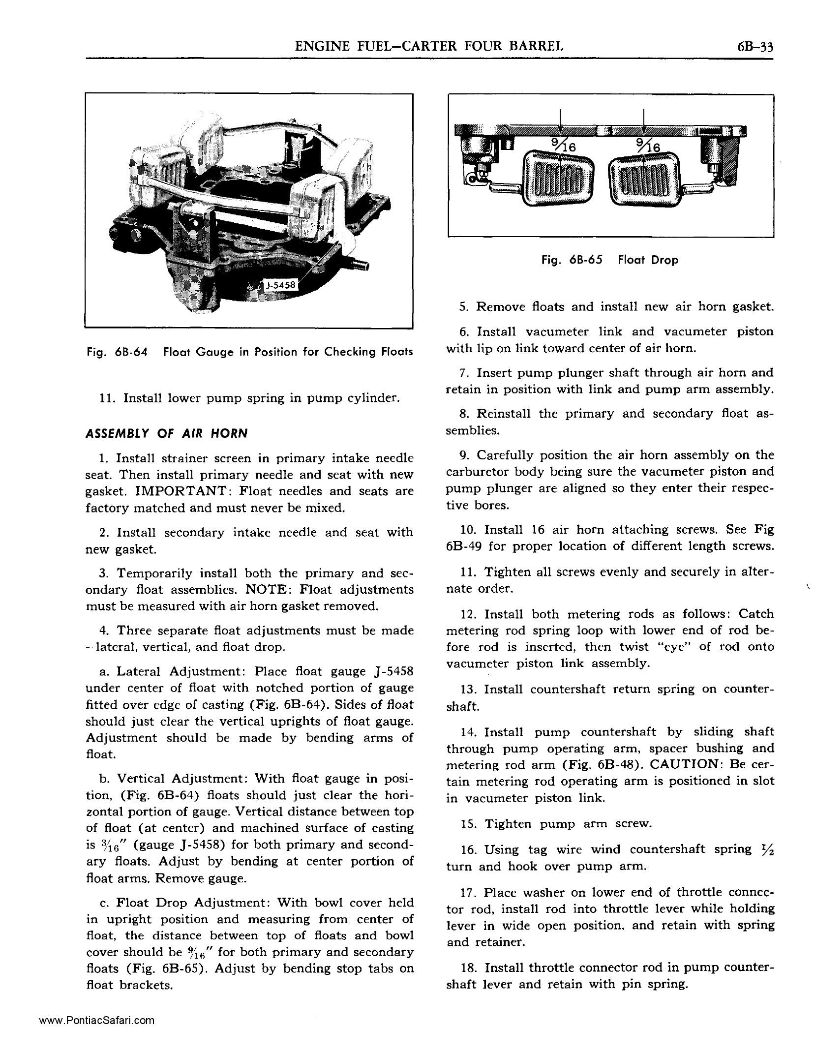 1955 Pontiac Shop Manual- Carter WCFB Four-Barrel Page 13 of 18